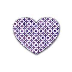 Circles3 White Marble & Purple Marble Heart Coaster (4 Pack)  by trendistuff