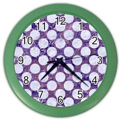 Circles2 White Marble & Purple Marble Color Wall Clocks by trendistuff