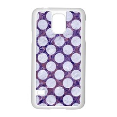 Circles2 White Marble & Purple Marble Samsung Galaxy S5 Case (white) by trendistuff