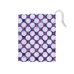 Circles2 White Marble & Purple Marble Drawstring Pouches (medium)  by trendistuff