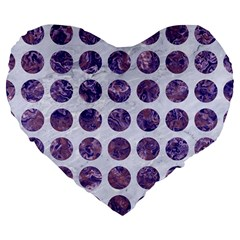 Circles1 White Marble & Purple Marble (r) Large 19  Premium Flano Heart Shape Cushions by trendistuff