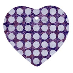 Circles1 White Marble & Purple Marble Ornament (heart)