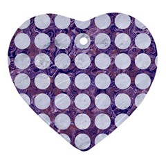 Circles1 White Marble & Purple Marble Heart Ornament (two Sides) by trendistuff