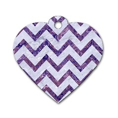 Chevron9 White Marble & Purple Marble (r) Dog Tag Heart (one Side) by trendistuff