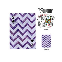 Chevron9 White Marble & Purple Marble (r) Playing Cards 54 (mini)  by trendistuff