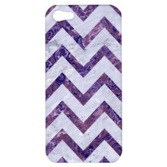 Chevron9 White Marble & Purple Marble (r) Apple Iphone 5 Hardshell Case by trendistuff