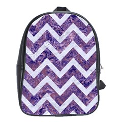 Chevron9 White Marble & Purple Marble School Bag (large) by trendistuff