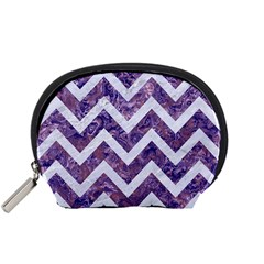 Chevron9 White Marble & Purple Marble Accessory Pouches (small)  by trendistuff