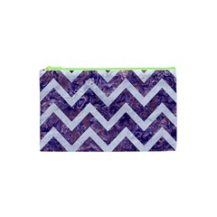 Chevron9 White Marble & Purple Marble Cosmetic Bag (xs) by trendistuff