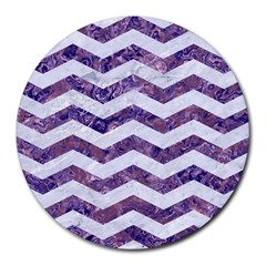 Chevron3 White Marble & Purple Marble Round Mousepads by trendistuff
