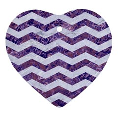 Chevron3 White Marble & Purple Marble Ornament (heart)