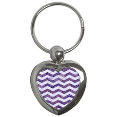 Chevron3 White Marble & Purple Marble Key Chains (heart)  by trendistuff