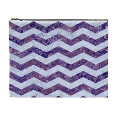 Chevron3 White Marble & Purple Marble Cosmetic Bag (xl) by trendistuff