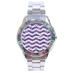Chevron3 White Marble & Purple Marble Stainless Steel Analogue Watch by trendistuff