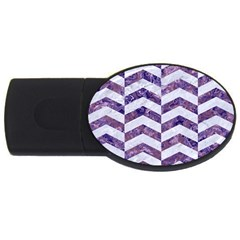Chevron2 White Marble & Purple Marble Usb Flash Drive Oval (4 Gb) by trendistuff