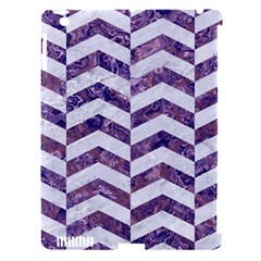 Chevron2 White Marble & Purple Marble Apple Ipad 3/4 Hardshell Case (compatible With Smart Cover) by trendistuff