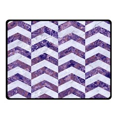 Chevron2 White Marble & Purple Marble Double Sided Fleece Blanket (small)  by trendistuff