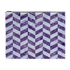 Chevron1 White Marble & Purple Marble Cosmetic Bag (xl) by trendistuff