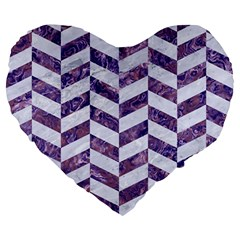 Chevron1 White Marble & Purple Marble Large 19  Premium Heart Shape Cushions by trendistuff