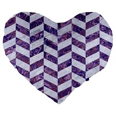 Chevron1 White Marble & Purple Marble Large 19  Premium Flano Heart Shape Cushions by trendistuff