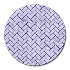 Brick2 White Marble & Purple Marble (r) Round Mousepads by trendistuff