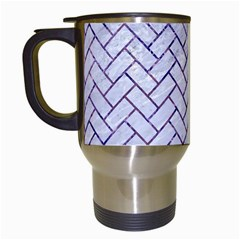 Brick2 White Marble & Purple Marble (r) Travel Mugs (white) by trendistuff