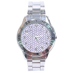 Brick2 White Marble & Purple Marble (r) Stainless Steel Analogue Watch by trendistuff