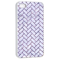 Brick2 White Marble & Purple Marble (r) Apple Iphone 4/4s Seamless Case (white) by trendistuff
