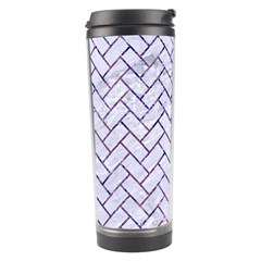 Brick2 White Marble & Purple Marble (r) Travel Tumbler by trendistuff