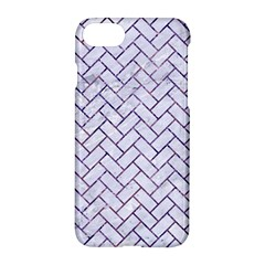 Brick2 White Marble & Purple Marble (r) Apple Iphone 8 Hardshell Case by trendistuff
