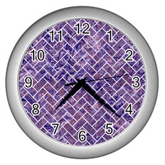 Brick2 White Marble & Purple Marble Wall Clocks (silver)  by trendistuff
