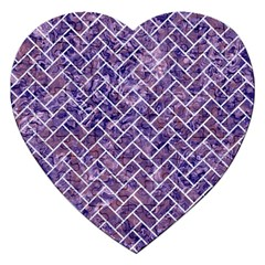 Brick2 White Marble & Purple Marble Jigsaw Puzzle (heart) by trendistuff