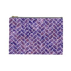 Brick2 White Marble & Purple Marble Cosmetic Bag (large)  by trendistuff