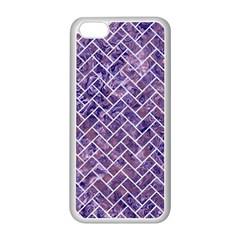 Brick2 White Marble & Purple Marble Apple Iphone 5c Seamless Case (white) by trendistuff