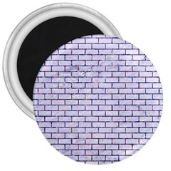 Brick1 White Marble & Purple Marble (r) 3  Magnets by trendistuff