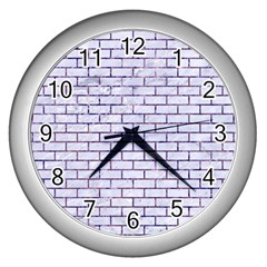 Brick1 White Marble & Purple Marble (r) Wall Clocks (silver)  by trendistuff