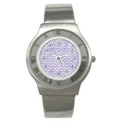 Brick1 White Marble & Purple Marble (r) Stainless Steel Watch by trendistuff