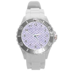 Brick1 White Marble & Purple Marble (r) Round Plastic Sport Watch (l) by trendistuff