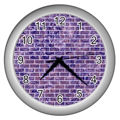 Brick1 White Marble & Purple Marble Wall Clocks (silver)  by trendistuff