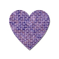 Brick1 White Marble & Purple Marble Heart Magnet by trendistuff