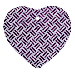 Woven2 White Marble & Purple Leather (r) Ornament (heart)