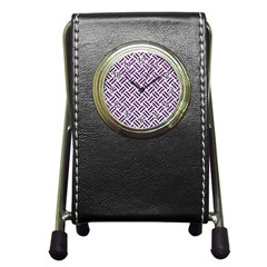 Woven2 White Marble & Purple Leather (r) Pen Holder Desk Clocks by trendistuff