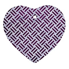 Woven2 White Marble & Purple Leather (r) Heart Ornament (two Sides)