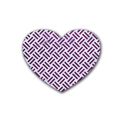 Woven2 White Marble & Purple Leather (r) Heart Coaster (4 Pack)  by trendistuff