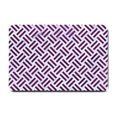 Woven2 White Marble & Purple Leather (r) Small Doormat  by trendistuff