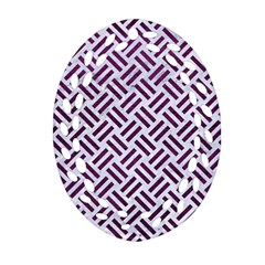 Woven2 White Marble & Purple Leather (r) Oval Filigree Ornament (two Sides) by trendistuff