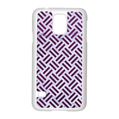 Woven2 White Marble & Purple Leather (r) Samsung Galaxy S5 Case (white) by trendistuff