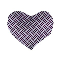 Woven2 White Marble & Purple Leather (r) Standard 16  Premium Flano Heart Shape Cushions by trendistuff