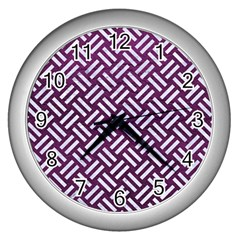 Woven2 White Marble & Purple Leather Wall Clocks (silver)  by trendistuff