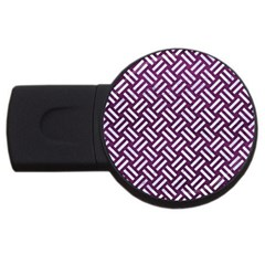 Woven2 White Marble & Purple Leather Usb Flash Drive Round (2 Gb) by trendistuff